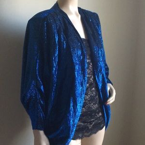 Tops - Vintage Peacock Blue cocoon jacket OS